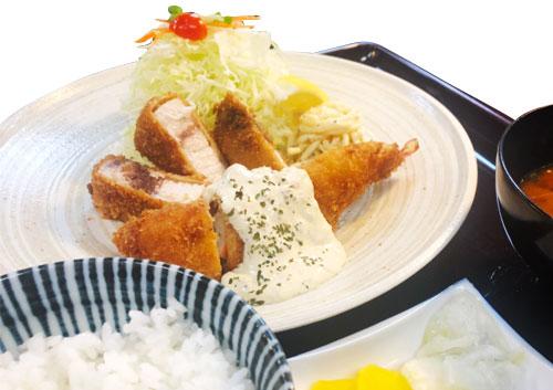 魚フライえびミックス定食